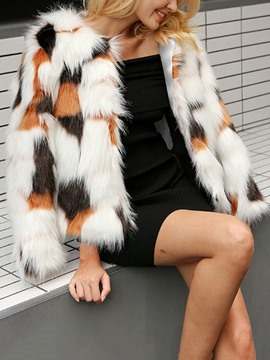 Ericdress Round Neck Color Block Standard Thick Loose Faux Fur Womens Overcoat