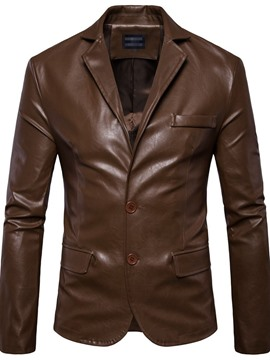 Ericdress Plain Notched Lapel Standard Casual 3D Leather Men's Jacket