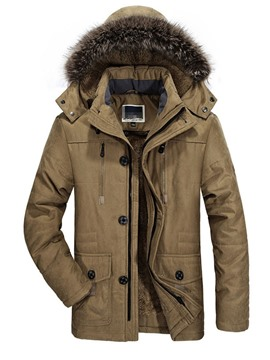 Ericdress Mid-Length Patchwork Hooded Casual Men's Down Jacket