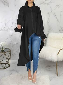 Ericdress Lapel Plain Long Long Sleeve Women's Blouse