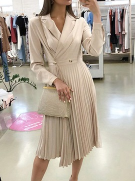 Ericdress Mid-Calf Long Sleeve Notched Lapel Winter Pleated Dress