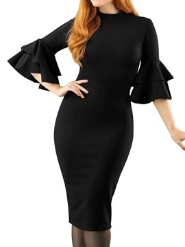 Ericdress Round Neck Three-Quarter Sleeve Mid-Calf Mid Waist Party/Cocktail Dress