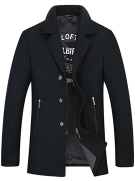 Ericdress Zipper Notched Lapel Mid-Length Men's Coat