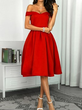 Ericdress Off Shoulder Knee-Length Short Sleeve Plain Pullover Dress