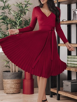 Ericdress V-Neck Mid-Calf Long Sleeve Date Night/Going Out Pullover Dress
