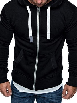 Ericdress Cardigan Zipper Fleece Casual Men's Hoodies