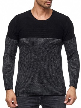 Ericdress Round Neck Color Block Standard Men's Slim Casual Sweater
