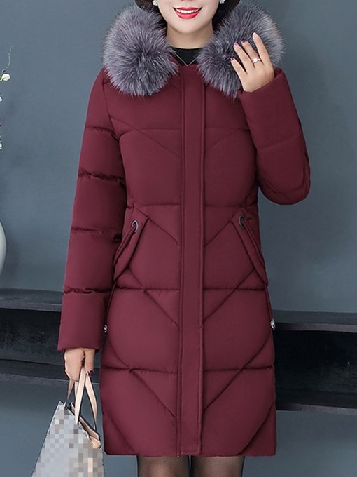 Ericdress Plus Size Zipper Patchwork Loose Mid-Length Cotton Padded Women's Jacket