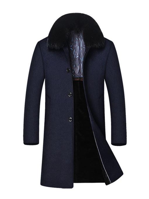 Ericdress Button Long Lapel A Line Single-Breasted Men's Coat