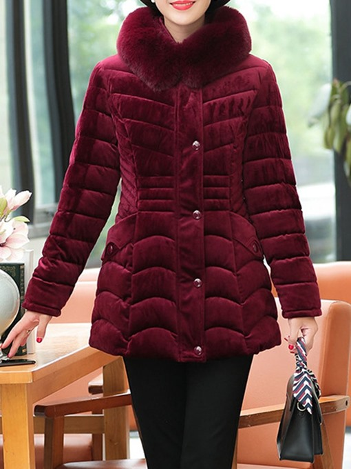 Ericdress Plus Size Single-Breasted Slim Patchwork Mid-Length Cotton Padded Women's Jacket