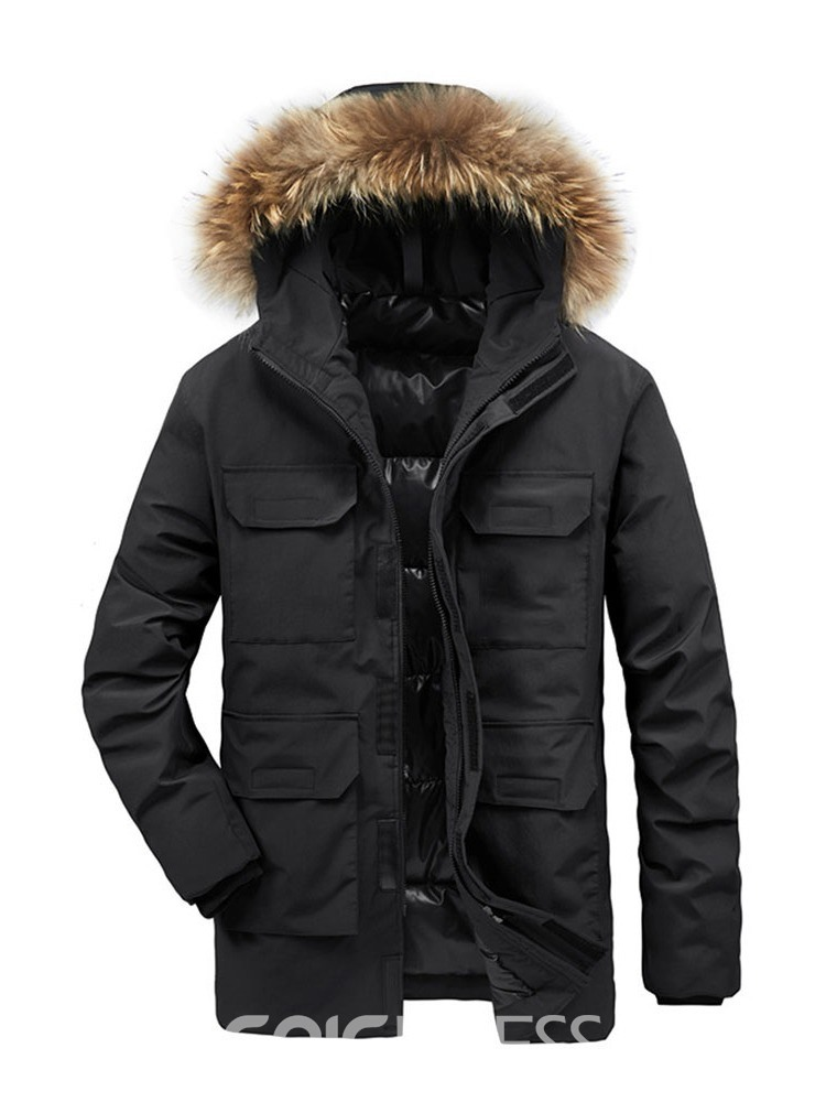 Ericdress Mid-Length Hooded Casual Slim Men's Down Jacket