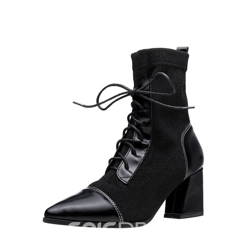 Ericdress Patchwork Chunky Heel Pointed Toe Ankle Boots