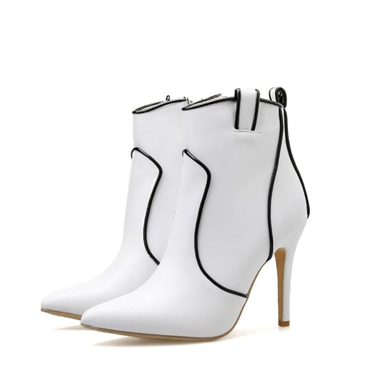 Ericdress Side Zipper Pointed Toe Color Block Ankle Boots