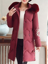Ericdress Plus Size Patchwork Straight Zipper Mid-Length Cotton Padded Womens Overcoat