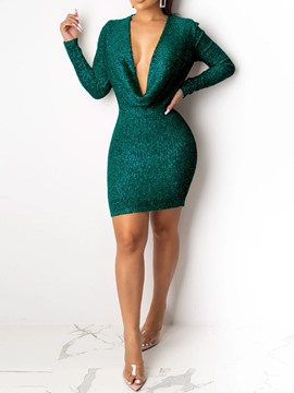 Ericdress Above Knee Sequins V-Neck Pullover Winter Dress