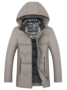 Ericdress Hooded Plain Casual Men's Down Jacket