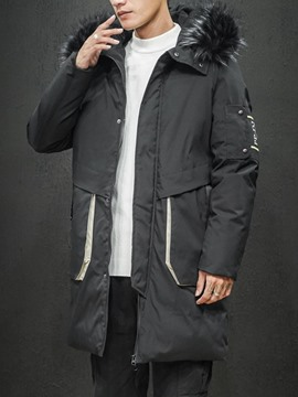 Ericdress Color Block Mid-Length Zipper Korean Men's Down Jacket