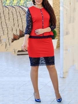 Ericdress Lace Knee-Length Three-Quarter Sleeve Bodycon Pullover Dress