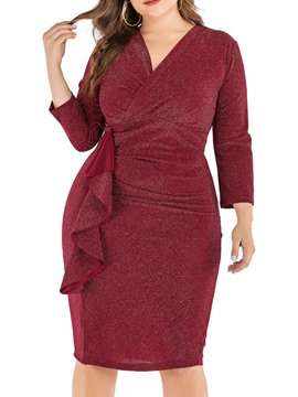 Ericdress Plus Size Nine Points Sleeve Pleated Knee-Length Bodycon Plain Dress