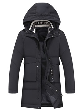 Ericdress Hooded Plain Patchwork Zipper Casual Men's Down Jacket