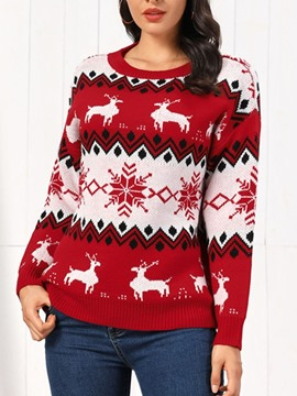 Ericdress Regular Loose Round Neck Christmas Women's Sweater