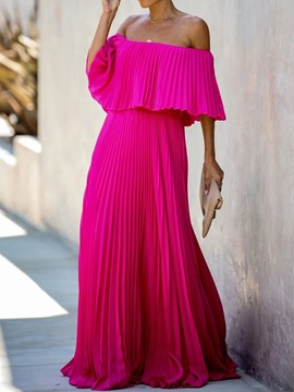 Ericdress Off Shoulder Floor-Length Three-Quarter Sleeve Plain Pullover Dress