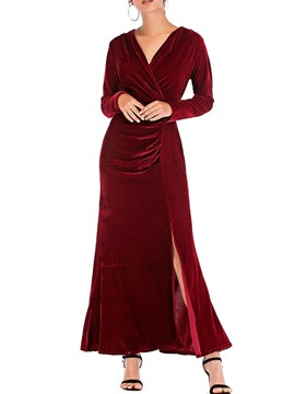 Ericdress V-Neck Ankle-Length Long Sleeve High Waist Pullover Dress