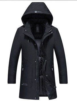 Ericdress Hooded Mid-Length Print Zipper Casual Men's Down Jacket