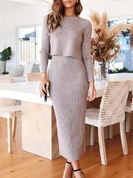 Ericdress Elegant Sweater Plain Pullover Round Neck Two Piece Sets