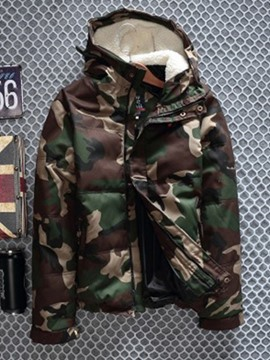 Ericdress Hooded Camouflage Standard Zipper Casual Men's Down Jacket