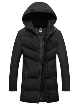 Ericdress Patchwork Plain Mid-Length Zipper Casual Men's Down Jacket