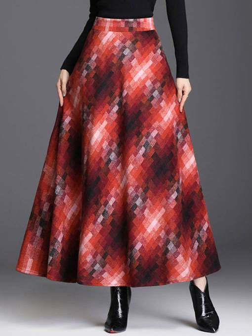 Ericdress Ankle-Length A-Line Color Block Casual Skirt