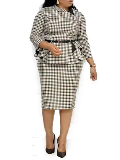 Ericdress Plus Size Plaid Casual Bodycon Two Piece Sets