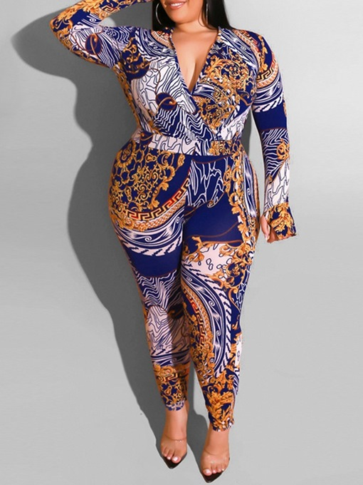 Ericdress Plus Size Print Full Length Color Block Skinny Jumpsuit