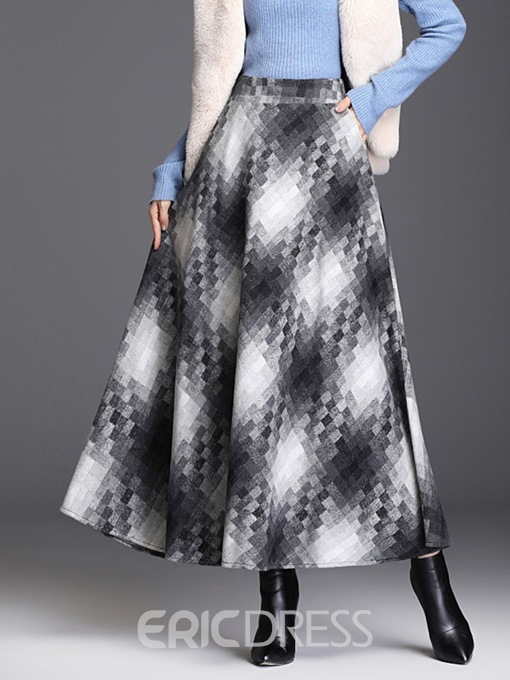 Ericdress Ankle-Length Color Block A-Line Casual Skirt