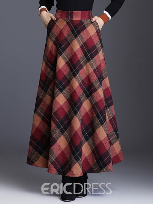 Ericdress Color Block A-Line Ankle-Length Skirt