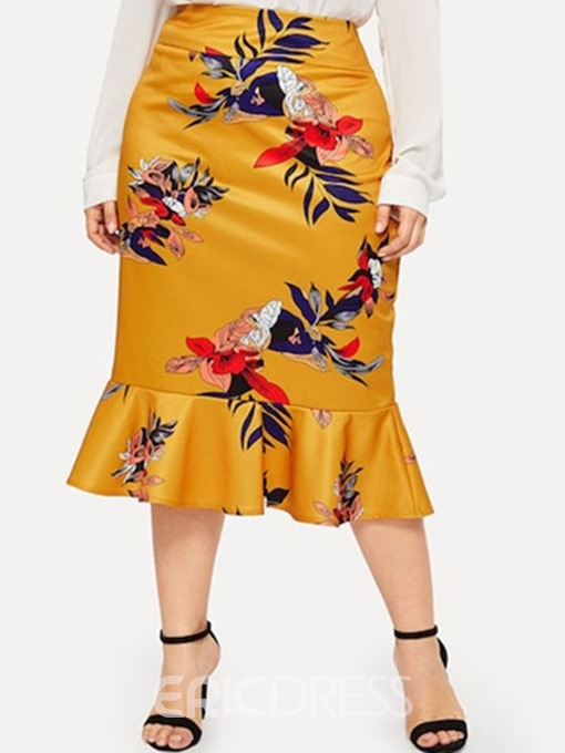 Ericdress Plus Size Print Mermaid Floral Knee-Length Skirt