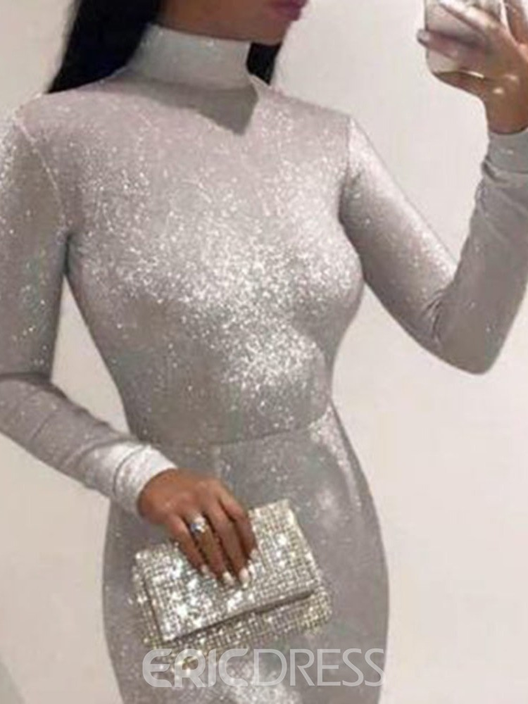 Ericdress Long Sleeve Sequins Floor-Length Regular Plain Dress
