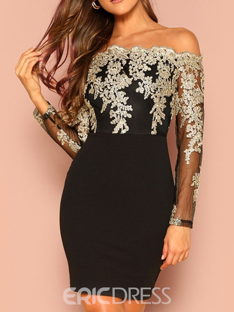 Ericdress Above Knee See-Through Off Shoulder Pullover Bodycon Dress