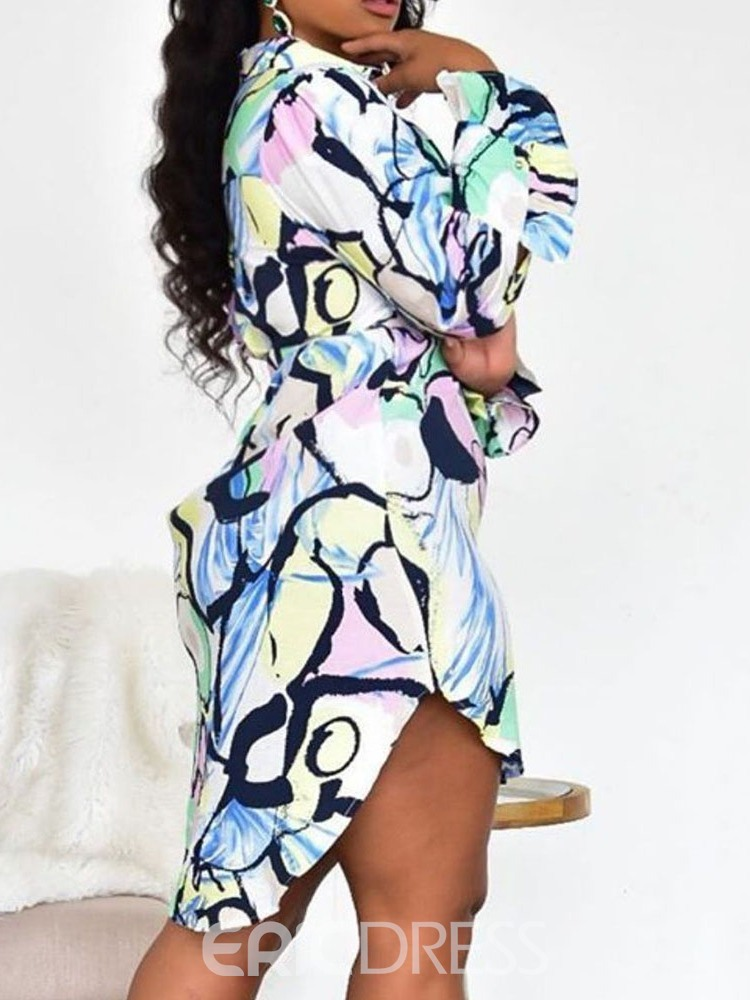 Ericdress Knee-Length Lapel Print Single-Breasted Casual Dress