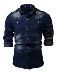 Ericdress Casual Button Color Block Slim Mens Shirt фото