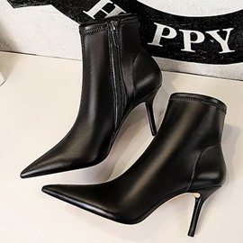 Ericdress Pointed Toe Plain Side Zipper Thread Fashion Boots