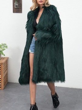 Ericdress Regular Long Plain Winter Straight Faux Fur Women's Overcoat