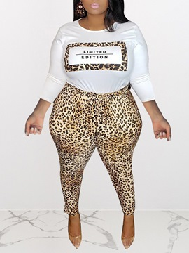Ericdress Plus Size Leopard Casual Round Neck Two Piece Sets