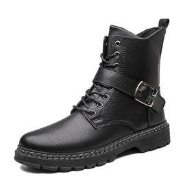 Ericdress Round Toe Plain Lace-Up Front PU Men's Boots