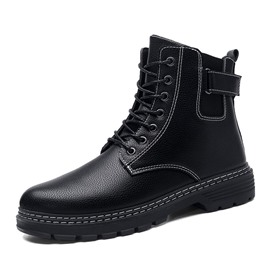Ericdress Round Toe Lace-Up Front PU Men's Martin Boots