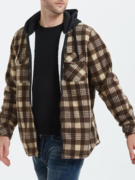 Ericdress Patchwork Hooded Plaid Zipper Loose Men's Jacket