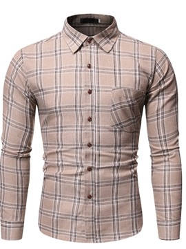 Ericdress Plaid Button Lapel Single-Breasted Slim Men's Shirt