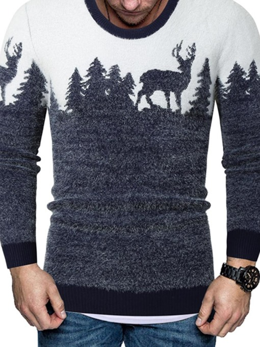 Ericdress Color Block Standard Print European Slim Men's Sweater