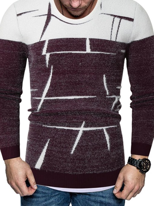 Ericdress Print Color Block Round Neck European Slim Men's Sweater